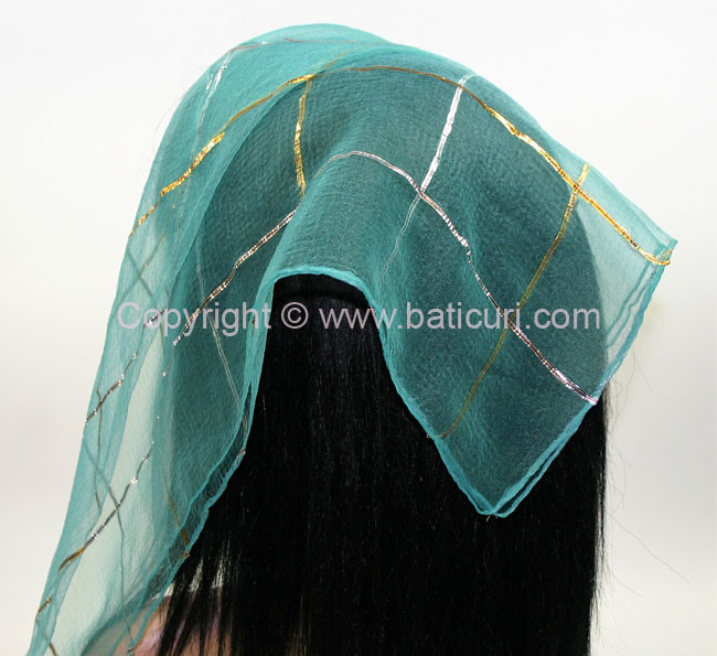 #15 SQ Gold and Silver Lurex single line- Turquoise
